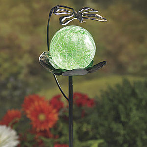 green solar garden globe with dragon fly